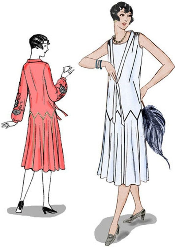 1920s Patterns – Vintage, Reproduction Sewing Patterns 1925 Zigzag Dress Pattern $20.00 AT vintagedancer.com