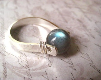 Labradorite Ring Sterling Silver 9mm Labradorite Wire Wrapped Size 8 Round Bed Labradorite Flash Womens Jewelry candies64