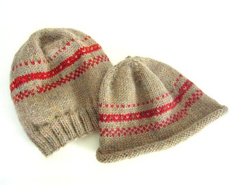 Men or Women Hand Knit Wool Hat - Heather Tan