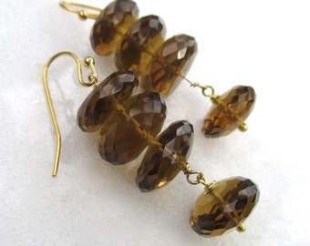 Brilliant Whiskey Quartz, Linked earrings in 14kg fill...