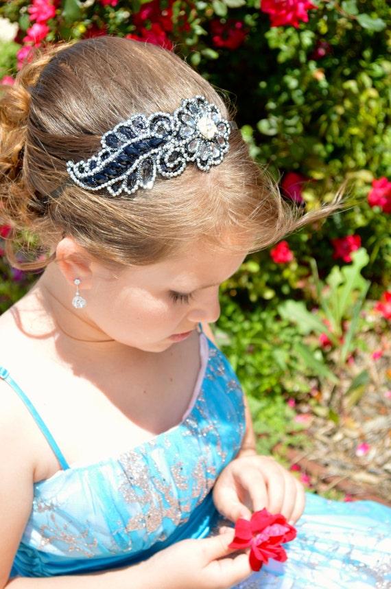 Midnight Sonata - Sparkling Black and Silver Leaf Rhinestone Beaded Headband Hair Accessory