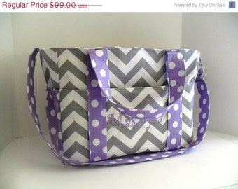 Chevron Diaper Bag - Lavender Dot - Diaper Bag - Bags and Purses - Extra Large Diaper Bag