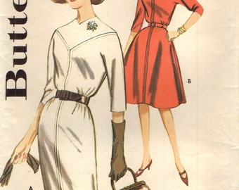 Butterick 9895 Welt Seamed Dress with Skirt Variations VINTAGE 60s