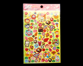 Lucky Cat Stickers - Japanese Washi Stickers - Traditional Japanese Stickers -  Japanese Food Stickers - New Year Stickers S148