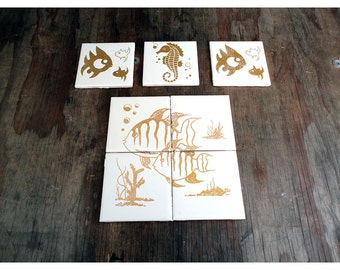 1950s Fish Wall Tiles - Ceramic - Made in Japan by Crown