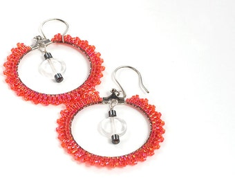 Hoop Earrings // Beaded // Red // Made to Order