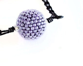 Beaded Bead Necklace - Lilac, Purple, Seed Beads, Beadwork, Beaded Pendent