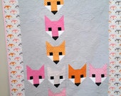 Modern Baby Girl Quilt Stacked Foxes - Orange Pink Gray Fox - Handmade Heirloom Baby Girl Quilt