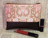 Owl Paisley and Faux Leather Zipper Pouch