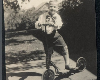 vintage photo Little Boy Blue Short Pants Big Bow Tie on Cool Bike Scooter