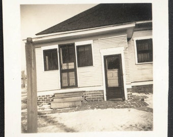 Vintage photo Architectural House with FAce Black and White