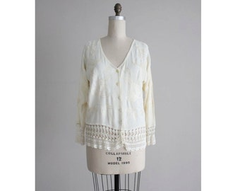 embroidered top / crochet blouse / cream blouse