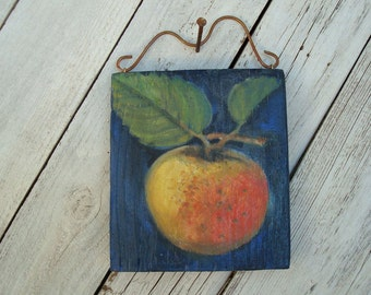 Apple Original Acrylic Painting on Reclaimed Wood Panel Shabby Chic Primitive Country Decor