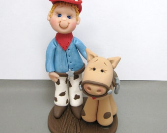 Cowboy and Pony polymer clay Birthday cake topper figurine