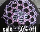 star of david kippah, womens yarmulke, pink and purple head covering, arabic byzantine style, geometric