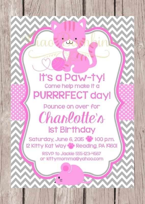 printable kitten birthday party invitation  pink
