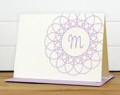 Personalized Stationery Set / Personalized Stationary Set - DOILY Custom Personalized Note Card Set - Monogram Lace Teacher Thank you