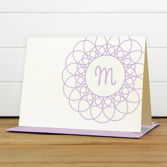 Personalized Stationery Set / Personalized Stationary Set - DOILY Custom Personalized Note Card Set - Monogram Lace Teacher Thank you