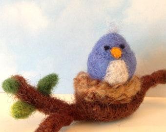 Needle Felted, Bluebird, Blue Bird, Tiny, Miniature, Branch, Spring