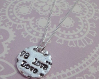 Small Rustic Love Print Necklace - One Off