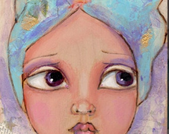 Big eyed Girl, Fairy painting, Original mixed media, Wood burned painting, Whimsical art