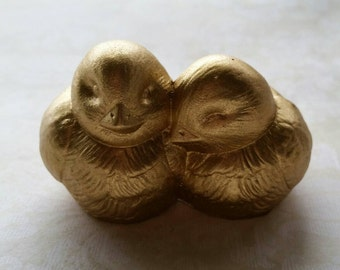 Gold Birds Wedding Cake Topper Love Birds Hugging Ceramic In Stock Wedding Cake Topper in Gold