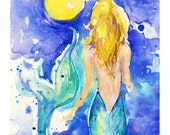 "Mermaid Watercolor - Ocean Sea Art print - Archival Print from Original painting ""Moon Wish"" by Kathy Morton Stanion EBSQ"