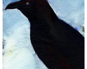 Crow No. 4 ... art archival Raven bird print from original painting by Kathy Morton Stanion EBSQ
