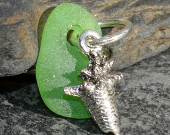 CONCH - Green CONCH Shell Sea Glass PENDANT