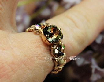 Vintage Swarovski Vitrail Medium Crystal Hand Crafted Wire Wrapped Ring Original Signature Design Fine Jewelry