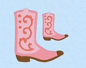 Cowboy Boot Feminine Machine Embroidery Design File in 2 sizes