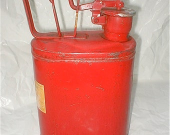 Vintage Protecto Seal Gas Can - One Gallon - No. One Red Metal Sealing gas Storage Garage Gasoline - Lawn Mower Fuel Storage