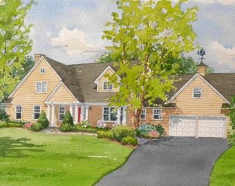 12x16 Custom Home Watercolor Portrait