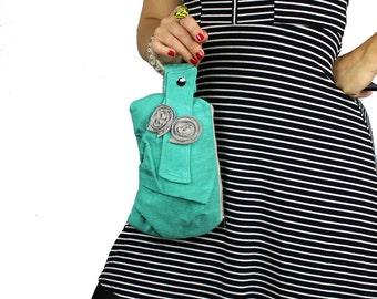 Turquoise & Gray Bracelet Handbag Wristlet