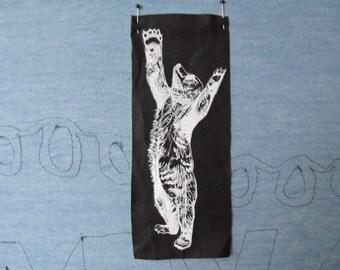 Reaching Black Bear Cub Silk Screen Print Patch Black and White on cotton canvas Original Illustration