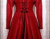 Red Belladonna - Edwardian Fit & Flare Frock - Mid-Length Coatdress by Kambriel - Brand New - Ready to Ship Designer Sample
