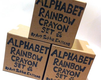 Kid's ALPHABET Recycled Crayons-Alphabet Recycled Rainbow Crayons - Set of 26 Individually Packaged Recycled Rainbow Crayons in Gift Box