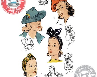 "E-Pattern- 1940s Hat Wardrobe Size 22""- Beret- Turban- Fedora-  PDF Download Vintage Wearing History Sewing Pattern"