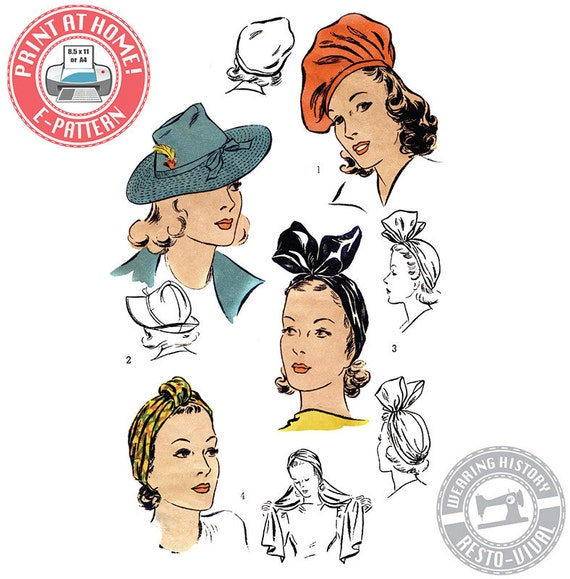 1940s Sewing Patterns – Dresses, Overalls, Lingerie etc E-Pattern- 1940s Hat Wardrobe Size 22- Beret- Turban- Fedora-  PDF Download Vintage Wearing History Sewing Pattern $12.00 AT vintagedancer.com