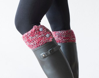 Button boot cuffs knit boot toppers with buttons in Red and grey boot socks knitted boot cuffs boot cuffs gift for her