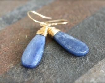 Large Blue Kyanite Wire Wrapped Earrings. Gemstone Dangle Gold Filled Earrings