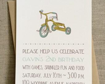 Tricycle First Birthday Invitation {Boy} Digital File OR Printed
