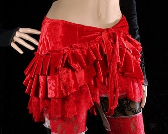 Goddess Wrap Skirt, Red Velvet hip belt, shimmy skirt, crushed velvet ruffle bustle, Tribal Belly Dance, Burlesque Performer, Gypsy, Boho
