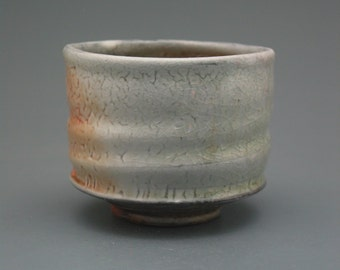Teacup, wood-fired stoneware w/ shino and natural ash glazes
