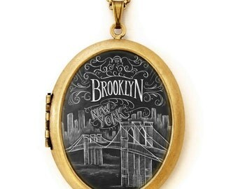 Brooklyn - Art Locket - Chalkboard Art Locket Necklace