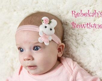 Easter Bunny Headband, Bunny Headband, Easter headband baby, pink headband, infant Easter headband,  infant headband, Easter bunny, Felt bow