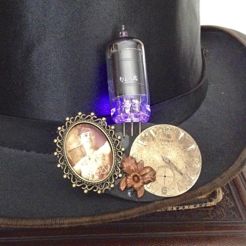purple led light up jewelry steunk vacuum brooch