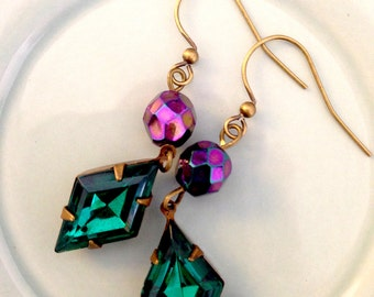 Colorful Earrings Vintage Glass Gem earrings emerald toumaline bright green Wicked witch diamond shapes Gothic jewelry