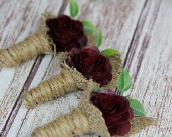 Dark Red Boutonniere