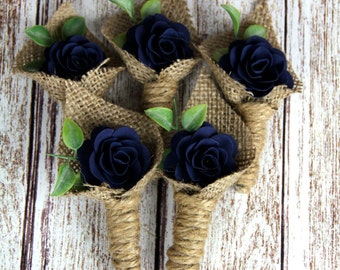 Navy Blue Boutonniere